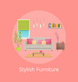 stylish furniture poster red vector image vector image