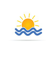 sun and sea icon color vector image vector image