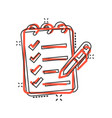 to do list icon in comic style document checklist vector image vector image