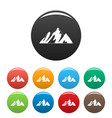 top of mountain icons set color vector image vector image