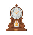 vintage wooden table clock retro style time vector image vector image