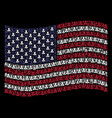 waving usa flag stylization of devil icons vector image vector image