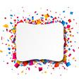 White paper note over confetti vector image