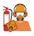 worker with construction tools vector image