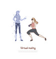 young woman in vr headset doing exercise coach vector image