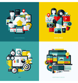 Flat icons set of cloud storage social media SEO vector image