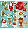 Christmas sticker icon set for xmas design vector image