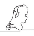 map of the netherlands continous line vector image
