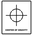 CENTER OF GRAVITY packaging symbol on a corrugated