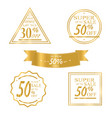 collection of golden sale discount vector image