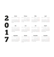2017 year simple calendar on german language vector image vector image