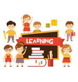back to school lovely children learn vector image vector image