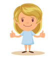 beautiful blonde girl happy smiling making thumbs vector image