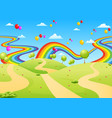 beautiful view with the empty field and colorful vector image vector image