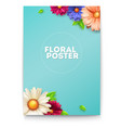 bouquet buds flower and leafs on poster vector image vector image