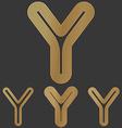 Bronze line y logo design set vector image vector image
