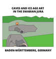 caves baden-wurttemberg germany line icon vector image vector image