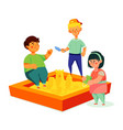 children playing in sandbox - colorful flat vector image
