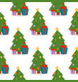 christmas pine tree cartoon green winter vector image