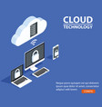 concept cloud technology with computer laptop vector image vector image