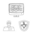 design of virus and secure sign set of vector image