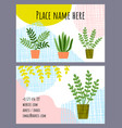 design visit card for houseplant shop vector image