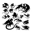 dragon ancient creature mythology silhouettes vector image