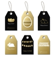 Easter gold gift tags with bunny and eggs vector image