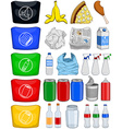 Food Bottles Cans Paper Trash Recycle Pack vector image vector image