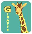 G for giraffe alphabet cartoon animal for children vector image