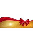 gold gift card with red ribbon bow isolated on vector image