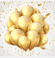 golden balloons realistic party ribbons confetti vector image