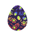 happy egg with grass and flower for happy easter vector image vector image