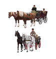 horse-drawn carriages vector image