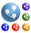 idea bulb interaction icons set vector image vector image