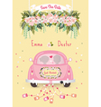 Just married car with save the date wedding vector image vector image