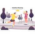 man jogging or at scamper woman resting vector image vector image