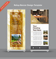 marble texture brown and mustard rollup banner vector image vector image