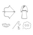 mongol dressing gown battle bow theria on the vector image vector image