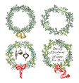 new year greeting card elements christmas wreath vector image