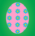 Pink easter egg with flower pattern vector image vector image