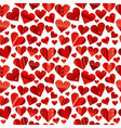red hearts in ethnic motifs pattern vector image
