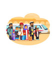 refugees families with baggage at railway station vector image vector image