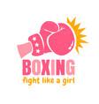 retro emblem for women boxing vector image vector image