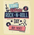 rock and roll concert day typography banner vector image