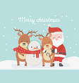 santa snowman reindeer celebration happy christmas vector image vector image