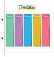 school timetable with post it notes vector image vector image