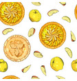 seamless pattern with apple pies the theme of vector image vector image