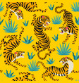 seamless pattern with cute tigers vector image vector image