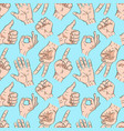 seamless pattern with hands showingin different vector image vector image